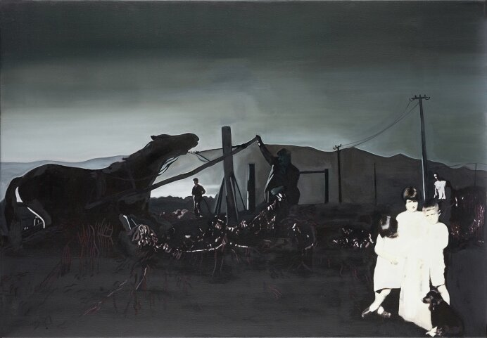 Let the horses be harnessed to the calash , oil on canvas, 8 0x 115 cm, 2015